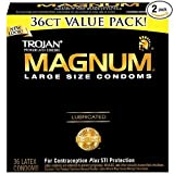 Trojan Large Size Condom Magnum Lubricated, (36 Count) - (Pack of 2)