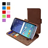 Galaxy S6 Edge Case, Snugg™ - Leather Wallet Case with Lifetime Guarantee (Brown) for Samsung Galaxy S6 Edge