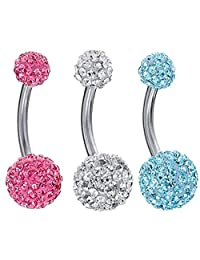 BodyJ4You 3 Pieces Belly Ring Crystal Ball Clear, Pink and Aquamarine Belly Piercing