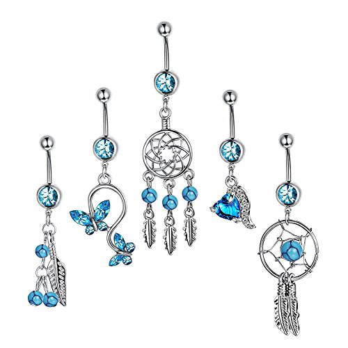 Potato40 40Pcs Women Dream Catcher Zircon Hollow Bar Body Piercing Custom Set It Off Dream Catcher
