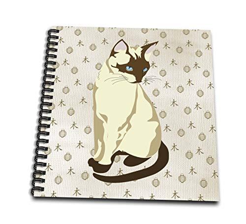 3dRose lens Art by Florene - Kids Art - Image of Cartoon Siamese Cat On Asian Pattern Background - Mini Notepad 4 x 4 inch (db_316021_3)