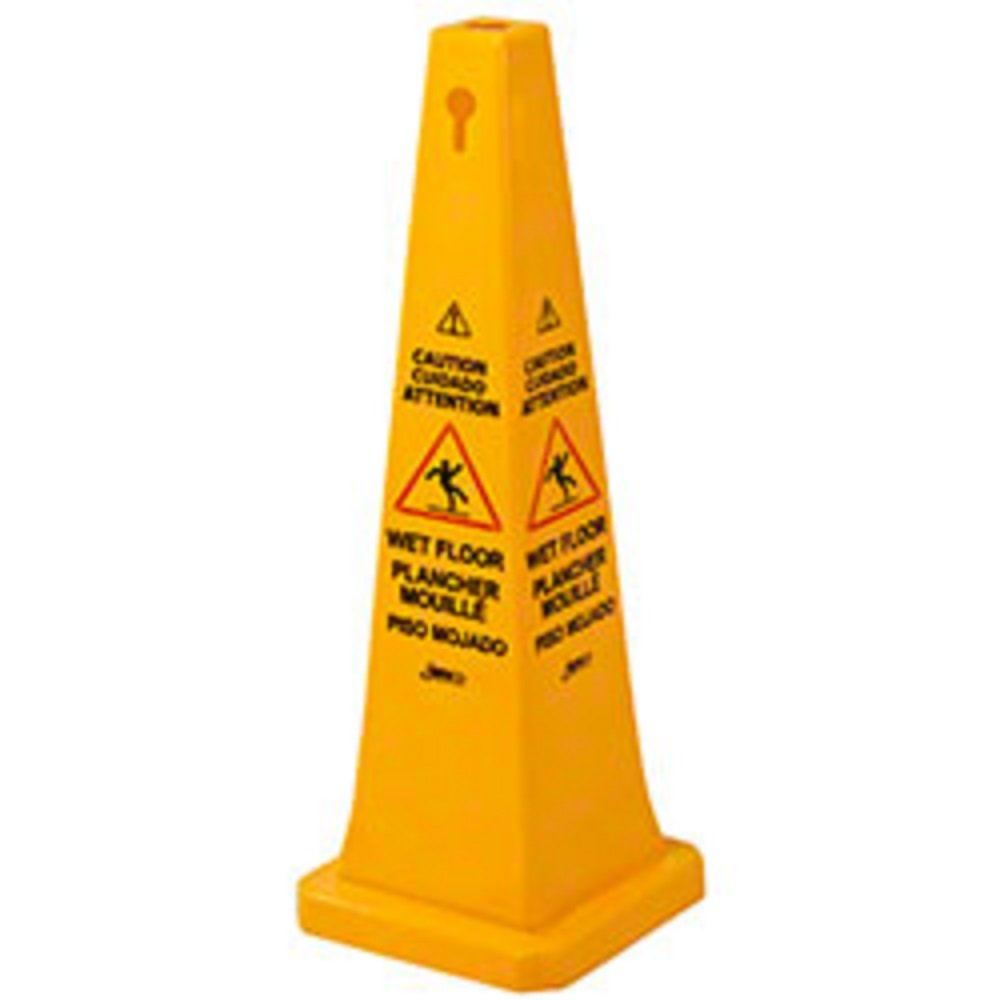 Janico 1072 Wet Floor Cone Public Safety Caution Cone 4 Sided Caution Wet Floor Imprint Multi Lingual 36 Inch High 12 Inch Base Yellow