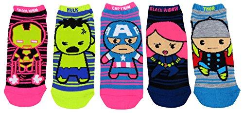 Marvel Avengers Womens Ankle-No Show Socks 5 Pair Pack (One Size, Neon Avengers) (Marvel Socks)