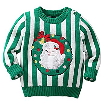 famuka Baby Boys Girls Ugly Christmas Sweater Toddlers Knitted Pullover Sweatshirt (100/2-3T, Green)