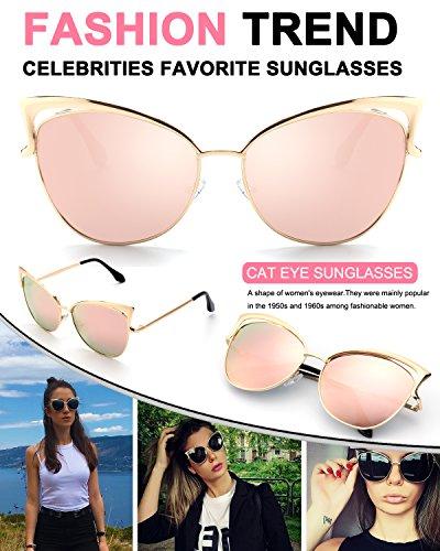 Modelo MS4 GQUEEN Dorado Gato B Sol Espejo de Mujer para Gafas Rosa De Ojos qqrgw0Cv