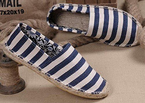 Popuus Moda Uomo Strisce Scarpe Di Tela Mocassini Per Coppie Blu