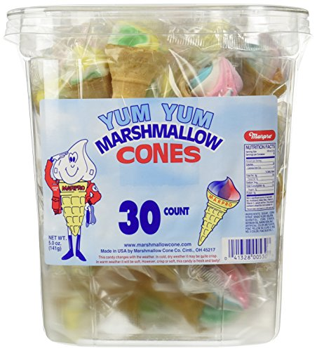 Marpro Yum Yum Marshmallow Candy Cones - 30 Ct. Tub (Fat Free)