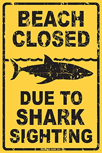Beach Closed Due to Shark Sighting Tin Sign 12 x (Shark Sign)