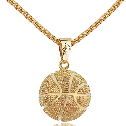 Hip Hop Basketball Pendant Fashion Necklace Sport Stainless Steel Chain Fitness Jewelry (Golden) ()