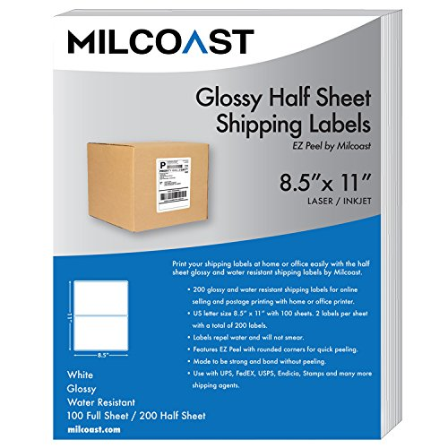 Milcoast Glossy 200 Half Sheet Shipping Labels EZ Peel Corners Water Resistant Adhesive for Laser or InkJet Printers (100 Sheets)