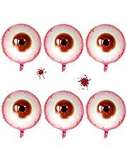 HUYIWEI Halloween Party Ballonnen, 6 stuks, 50,8 cm, creatief rond oogappel, design ballonHalloween, party, decoratie, parodie geschenk, aluminiumfolie, luchtballonnen, universele feestbenodigdheden, horrordecoratie, rood