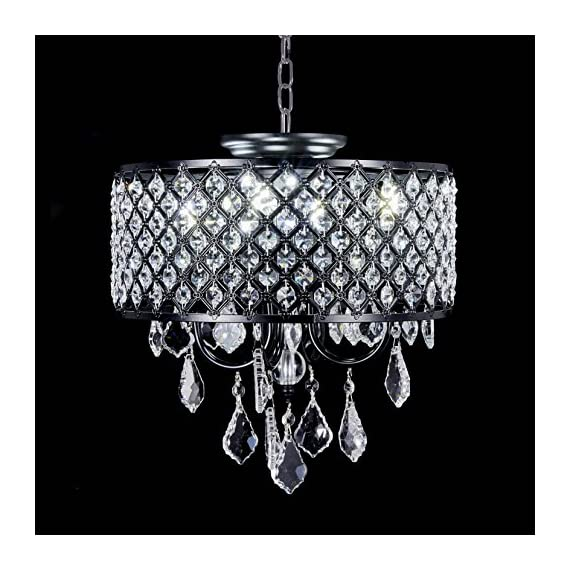 "New Galaxy Lighting 4-Light Antique Black Round Metal Shade Crystal Chandelier Pendant Hanging Ceiling Fixture - Contemporary style Pendant chandelier with Crystal Beaded Drum Shade Materials: Metal, crystal; Finish: Antique Black Fixture dimensions:14"" Diameter x 13"" high or 18"" high with crystal hanging; Chain: 33"", Total height: 50"" - kitchen-dining-room-decor, kitchen-dining-room, chandeliers-lighting - 51xLGrb%2Bz5L. SS570  -"