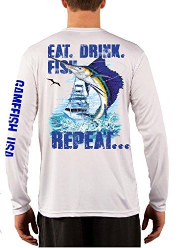 GAMEFISH USA UPF 50 Long Sleeve Performance Fishing Shirt Eat Drink Fish Repeat Sailfish Medium White