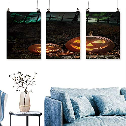 SCOCICI1588 3 Panels Triptych Halloween Pumpkins on Rocks in a Forest at Night for Home Modern Decoration No Frame 12 INCH X 16 INCH X 3PCS