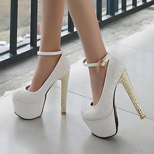 Crystal High Shoes Work Lady Sexy Gift Rough Night Heel White Elegant 35 Shoes Shoes Leisure Round Shoes Spring Heels 15 MDRW Sequins Head Shop Single Women'S 5Cm Late S0HqEwq