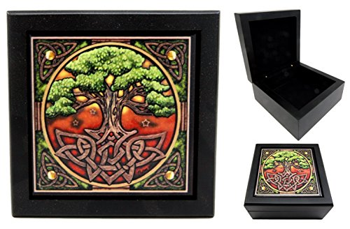Atlantic Collectibles Celtic Sacred Tree of Life Wooden Tile Jewelry Box Trinket Hinged Personal Accessory Artist Lisa Parker