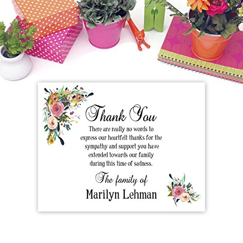 Sympathy Acknowledgement Cards, Funeral Thank You and Bereavement Notes Personalized by Pixel Impressions