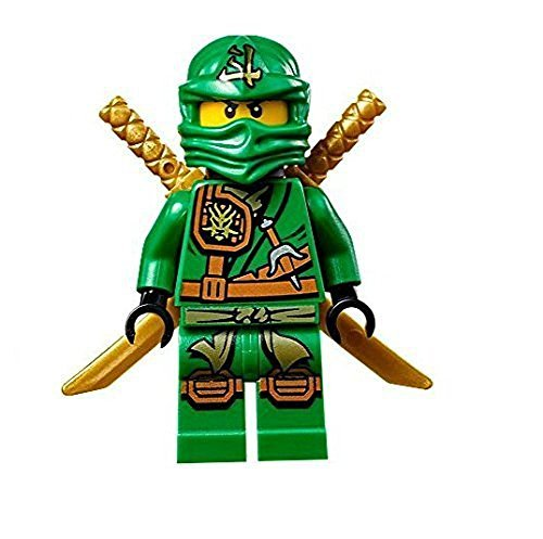 LEGO Ninjago Minifigure - Lloyd Zukin Robe Jungle Green Ninja with Dual Gold Swords -