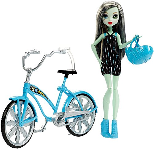 Monster High Boltin' Bicycle Frankie Stein Doll & Vehicle]()