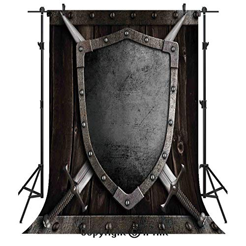 Medieval Photography Backdrops,Medieval Shield and Crossed Swords on Wood Gate Safety Security Military Theme Art,Birthday Party Seamless Photo Studio Booth Background Banner 5x7ft,Grey -