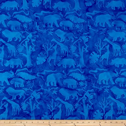 Island Batik Petting Zoo Jungle Animals Bluebird Fabric by The Yard