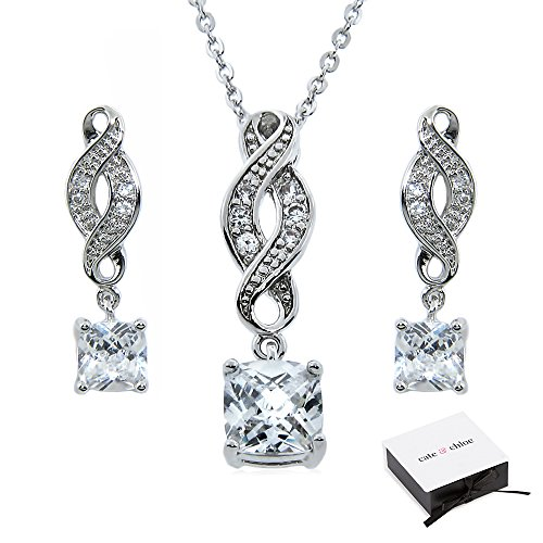 Cate & Chloe Iris Infinity Jewelry Set, 18k White Gold Cubic Zirconia Pendant Necklace and Dangle Earrings, Bridal Jewelry Set, Solitaire Necklace Earring Set for Women, Infinity Jewelry Set