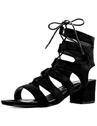 Allegra K Women's Open Toe Cutout Chunky Heel Lace-Up Sandals
