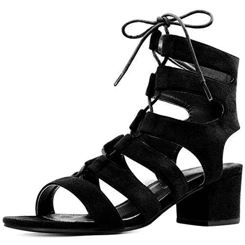 Allegra K Women Open Toe Cutout Chunky Heel Lace-up Sandals (Size US 10.5) Black