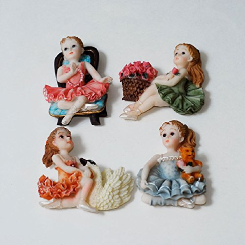 Magnet 16 Sweet (Little Girl Figurine Quinceanera Sweet 15 / 16 Party Favor Fridge Magnets 12 Set)