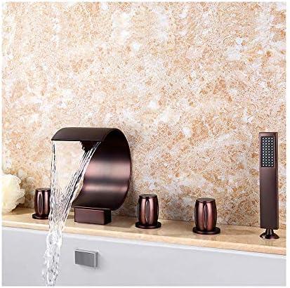 ORBの浴槽の蛇口真鍮の浴室の浴槽の蛇口の滝のシャワーセット3刻み付きハンドル5ホールデッキマウントバスタブタップハンドヘルドシャワー、温水と冷水
