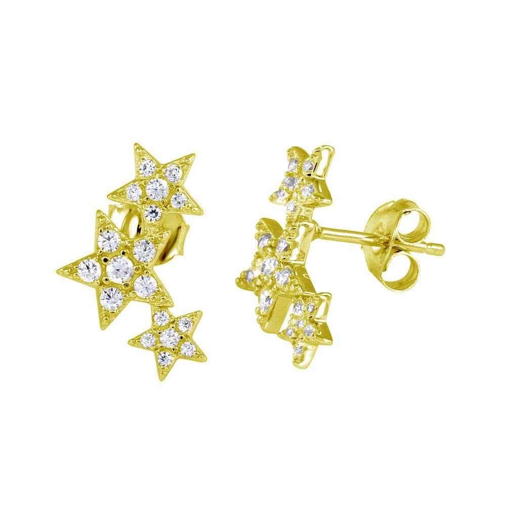 CloseoutWarehouse Clear Cubic Zirconia Graduated Star Stud Earrings Gold-Tone Plated Sterling Silver