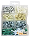 #7: Qualihome Drywall and Hollow-wall Anchor Assortment Kit, Anchors, Screws, Wall Anchor Hooks, and Hollow-door Toggle, 112 Pieces