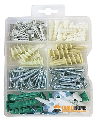 Qualihome Drywall and Hollow-wall Anchor Assortment Kit, Anchors, Screws, Wall Anchor Hooks, and Hollow-door Toggle, 112 Pieces (Light 4 Scroll)