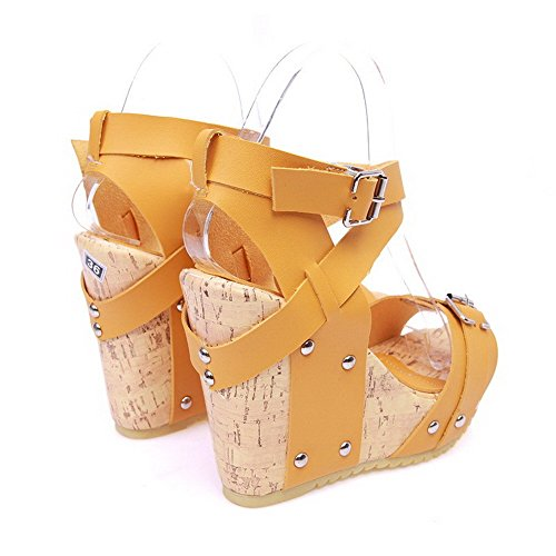 AllhqFashion Women's Soft Material Open Toe High-Heels Solid Sandals Yellow 0oVzsl