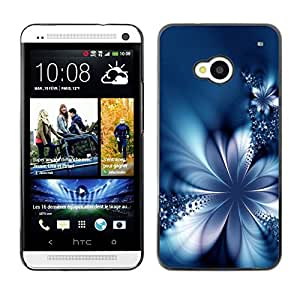All Phone Most Case / Hard PC Metal piece Shell Slim Cover Protective Case for HTC One M7 Floral Petal Ice Flowers Blurry Blue