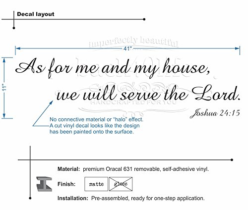 As for Me and My House, We Will Serve the Lord Joshua 24:15 Vinyl Decal (Dk Brown)