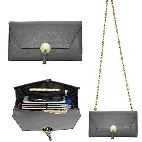 Bolso de piel Befencon diseño de sobre y cuerda al hombro, con tamaño suficiente para guardar un iPhone 6, 6S y 7 Plus gris