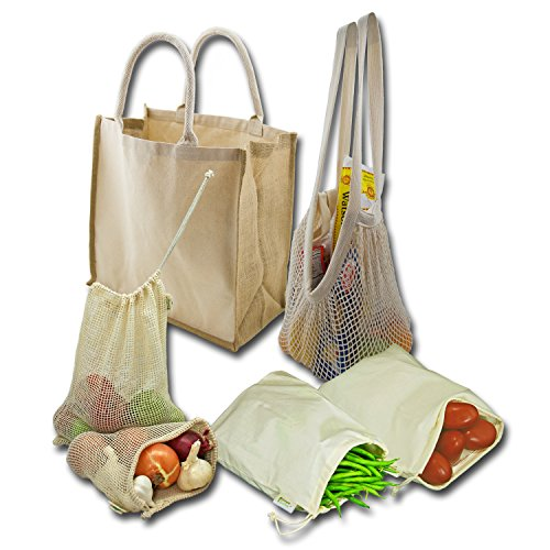 (Simple Ecology Organic Reusable Farmers Market Grocery Shopping Bag Set (gift & starter set, durable handles, string produce saver bags, food storage, bulk bin, with tare weight tag and)