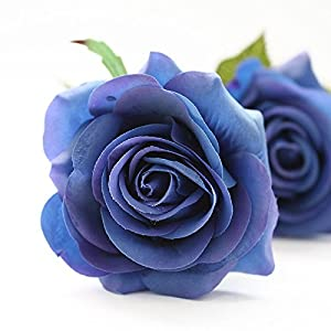 IPOPU Artificial Flowers, Silk Moisturizing Real Touch Rose Fake Flower with Green Leaves Wedding Bouquet for Home,Office, Party,Wedding Decoration and Festival Gift, 12 Pcs Blue 2