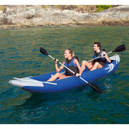 Inflatable Kayak for 2-Person by Ozark Trail with 2 Oars, Pump, Carry Bag and Two Adjustable Seats with Storage Compartments, Blue, Great for Outdoor Recreation