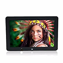 Celendi 12 Inch 1280x800 Hi-Res LED Digital Photo Frame MP3 and HD Video Player with Motion Sensor, Clock/Calendar Display, USB/SD Input (Black)