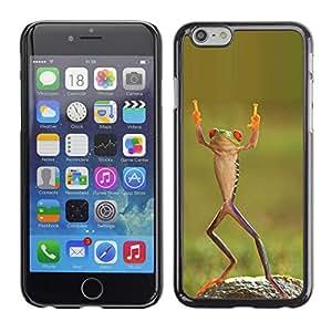 FlareStar Colour Printing Frog Happy Dancing Tropical Green Ninja cáscara Funda Case Caso de plástico para Apple (5.5 inches!!!) iPhone 6 Plus