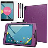 BIRUGEAR Google Nexus 9 Case, SlimBook Leather Folio Stand Smart Cover Case with Auto Sleep/Wake Function for HTC Nexus 9 8.9-Inch Tablet / 2014 Google Nexus 9 (Purple) + Screen Protector & 3pcs Universal Stylus