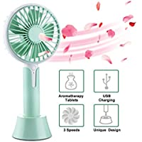 Handheld Fan, USB Rechargeable Battery Operated Fan with Aromatherapy Diffuser Personal Portable Desk Desktop Table Cooling Fan for Office, Bedroom, Traveling, Camping, Outdoor Sports (3 Speed)