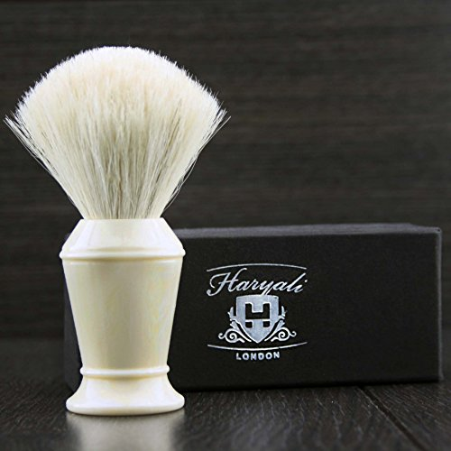 White Badger Men's Shaving Brush in Ivory Colour Handle. Perfect For all Kind of Shave. by Haryali London