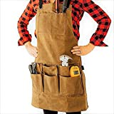 Utility apron Waxed-Canvas Work Apron for Men and Women with Pockets for Tools Cross-Back Straps – Adjustable from M to XXL (Brown)