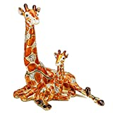 Sparkling Collectibles Resting Giraffe and Baby Figurine BOX Swarovski Crystals Mother and Child Jewelry Box, Trinket or Pill Box…