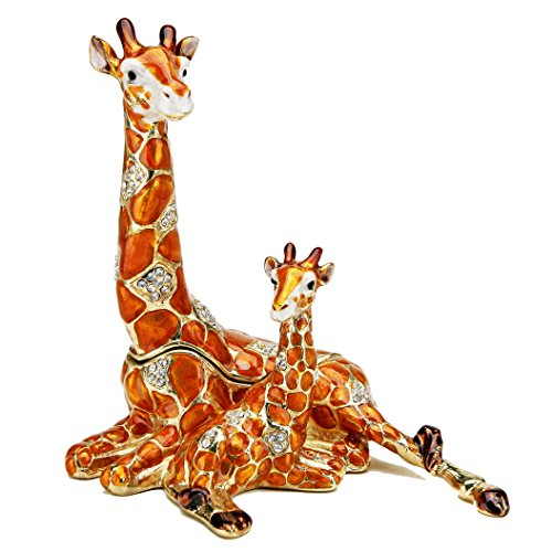 Resting Giraffe and Baby Figurine BOX Swarovski Crystals Mother and Child Jewelry Box, Trinket or Pill (Giraffe Crystal Jewelry)