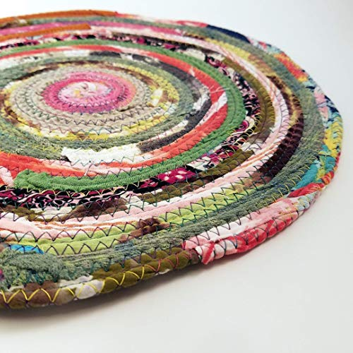 Braided Rug Style Qty: 1 Multicolor Jewels Fabric Table Mat Placemats Upcycled Cloth Mat Boho Hippie Unique Colorful Eco-Friendly Handmade Vintage Inspired Eco-Conscious