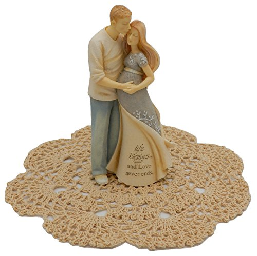 Enesco Foundations Family and Wedding Figurines with Westbraid Doily (Pregnant Couple)